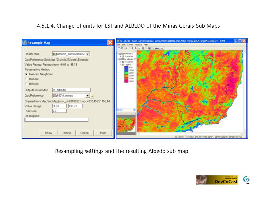 Resampling settings and the resulting Albedo sub map