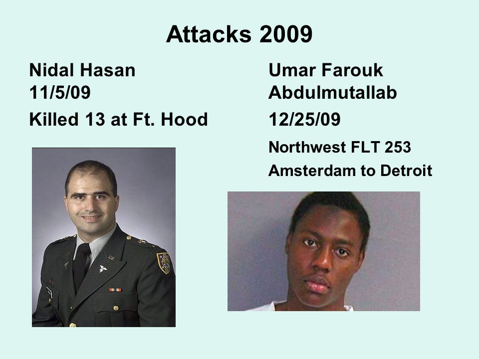 Attacks 2009 Nidal Hasan Umar Farouk 11/5/09 Abdulmutallab Killed 13 at Ft.