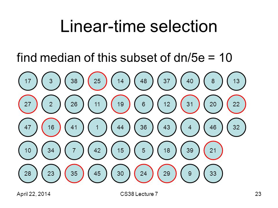 Linear-time selection find median of this subset of dn/5e = 10 April 22, 2014CS38 Lecture