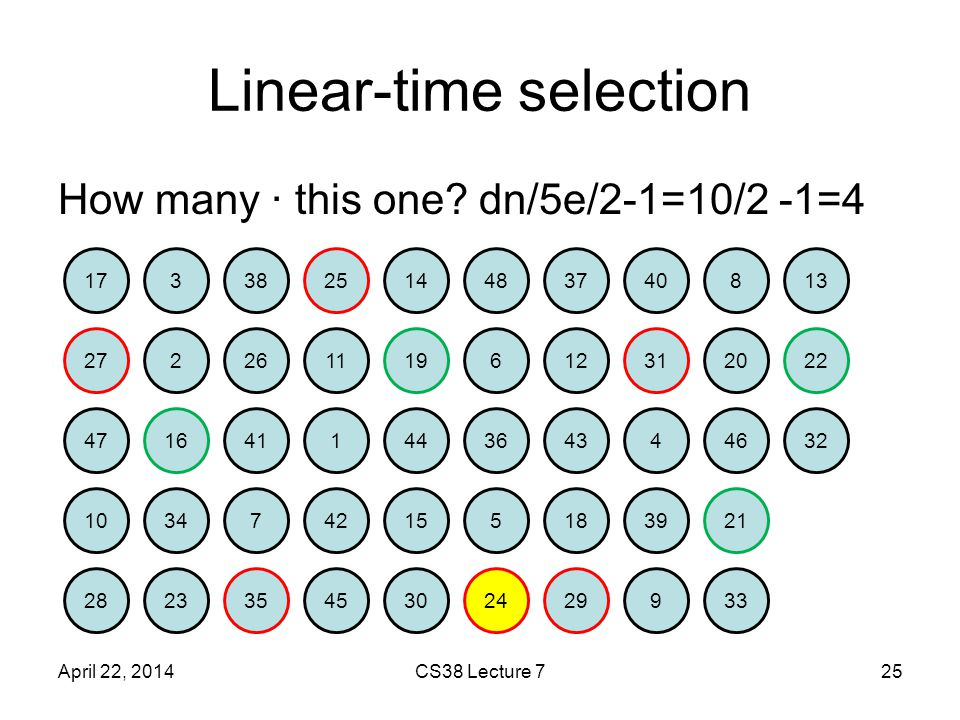 Linear-time selection How many · this one.