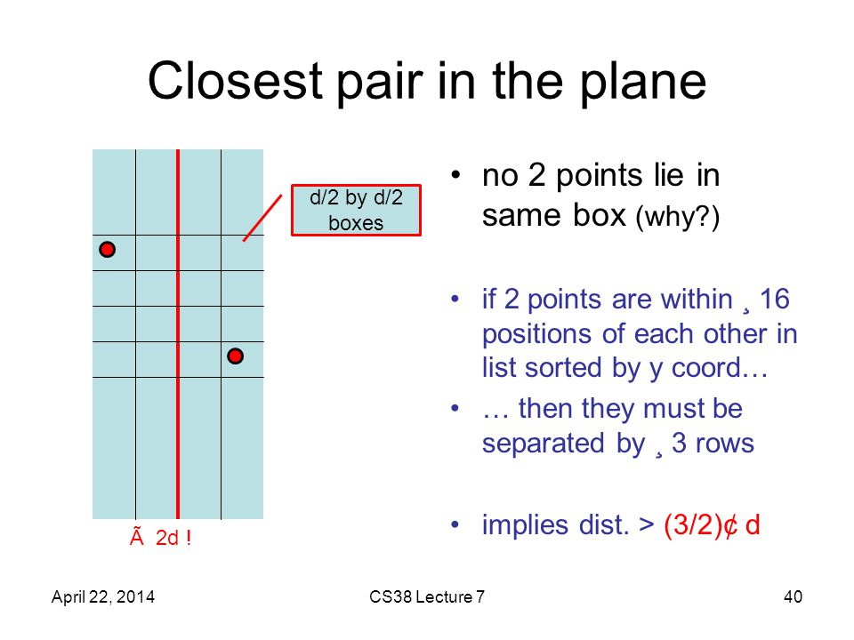 Closest pair in the plane no 2 points lie in same box (why ) if 2 points are within ¸ 16 positions of each other in list sorted by y coord… … then they must be separated by ¸ 3 rows implies dist.