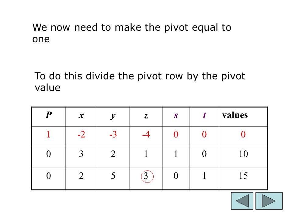 12 Pxyzstvalues We now need to make the pivot equal to one To do this divide the pivot row by the pivot value
