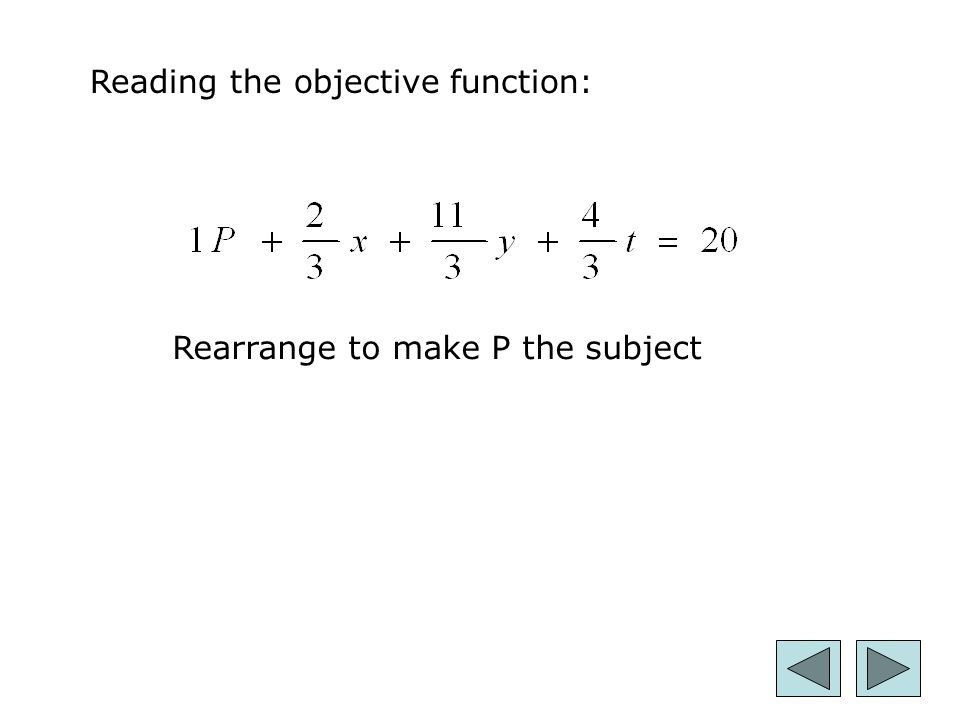 25 Reading the objective function: Rearrange to make P the subject