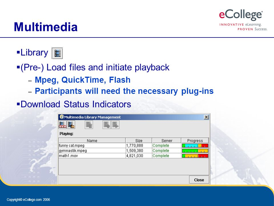 Copyright© eCollege.com 2006 Multimedia  Library  (Pre-) Load files and initiate playback – Mpeg, QuickTime, Flash – Participants will need the necessary plug-ins  Download Status Indicators