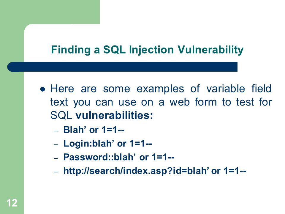 test sql injection