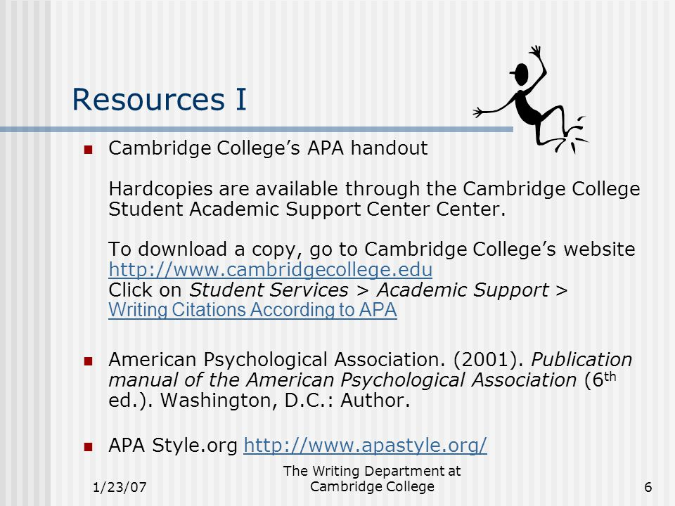 1/23/07 The Writing Department at Cambridge College6 Resources I Cambridge College's APA handout Hardcopies are available through the Cambridge College Student Academic Support Center Center.