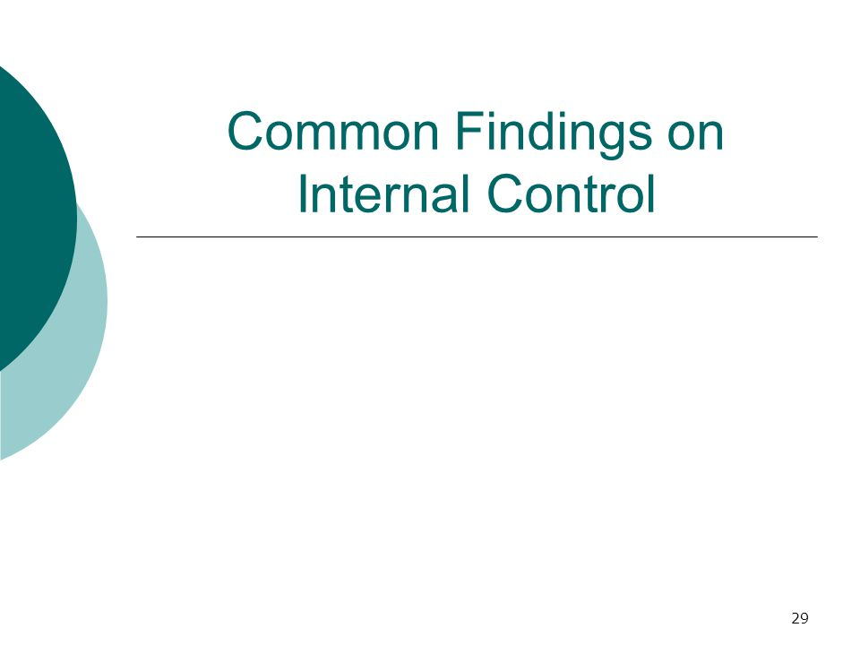 29 Common Findings on Internal Control