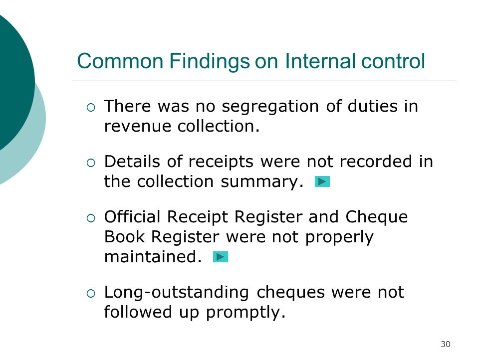 30 Common Findings on Internal control  There was no segregation of duties in revenue collection.