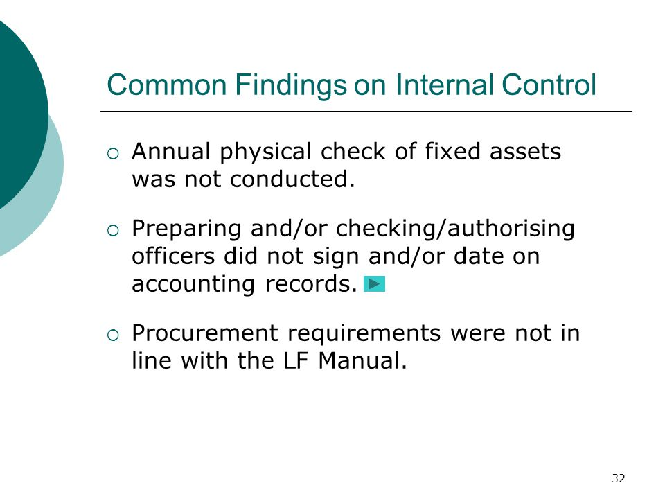 32 Common Findings on Internal Control  Annual physical check of fixed assets was not conducted.