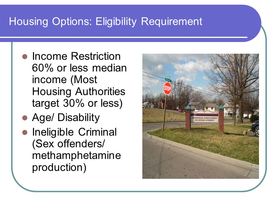 Housing Options: Eligibility Requirement Income Restriction 60% or less median income (Most Housing Authorities target 30% or less) Age/ Disability Ineligible Criminal (Sex offenders/ methamphetamine production)