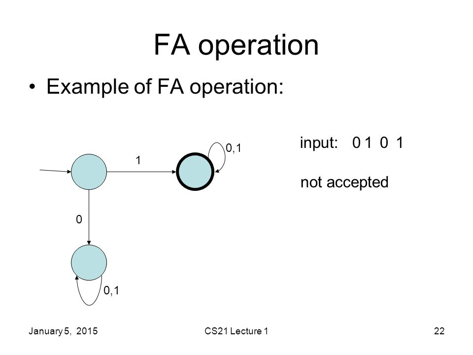 January 5, 2015CS21 Lecture 122 FA operation Example of FA operation: 1 0 0,1 input:0101 not accepted