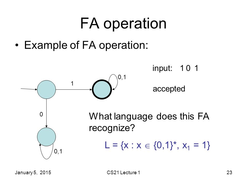 January 5, 2015CS21 Lecture 123 FA operation Example of FA operation: 1 0 0,1 input:101 accepted What language does this FA recognize.