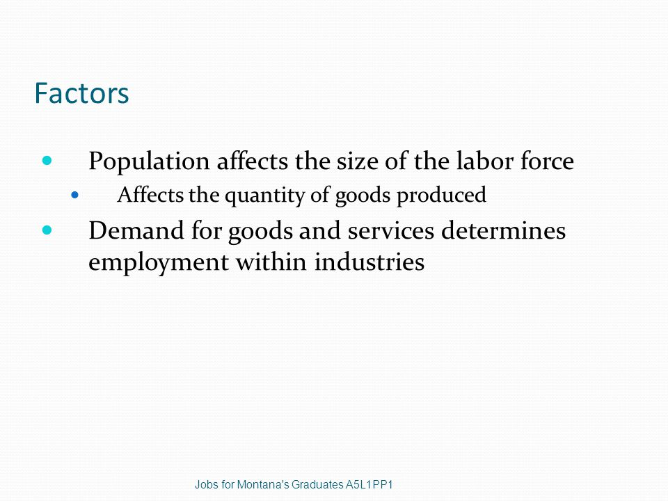 Factors Population affects the size of the labor force Affects the quantity of goods produced Demand for goods and services determines employment within industries Jobs for Montana s Graduates A5L1PP1