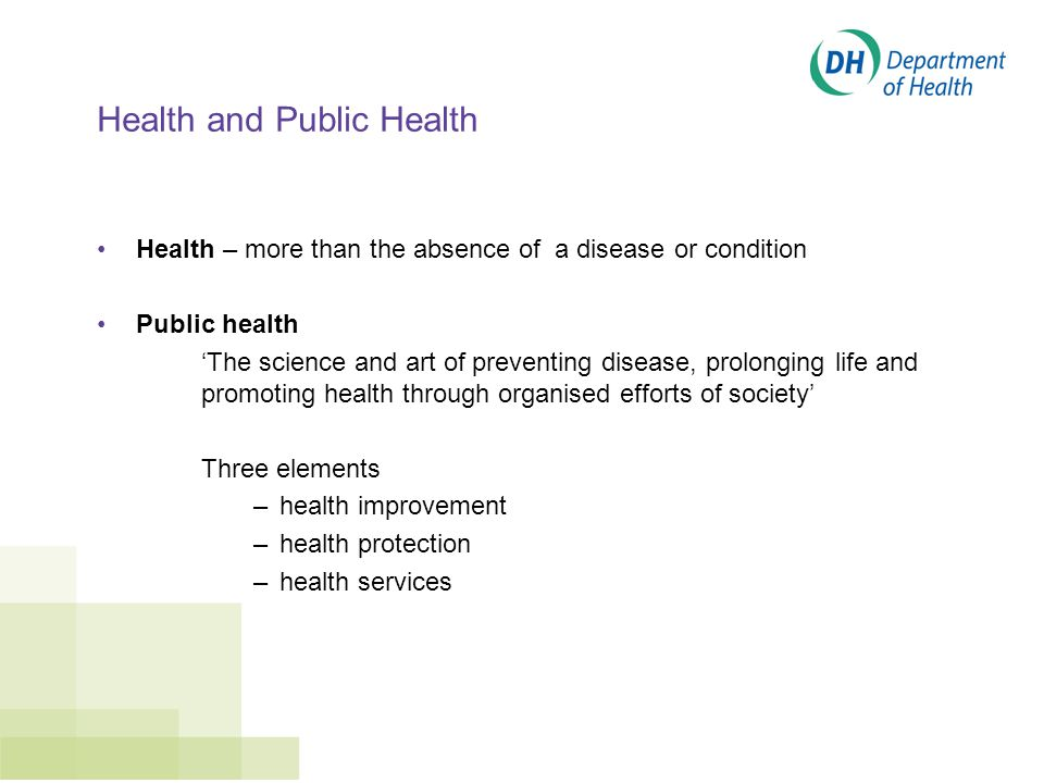 Health and Public Health Health – more than the absence of a disease or condition Public health 'The science and art of preventing disease, prolonging life and promoting health through organised efforts of society' Three elements –health improvement –health protection –health services