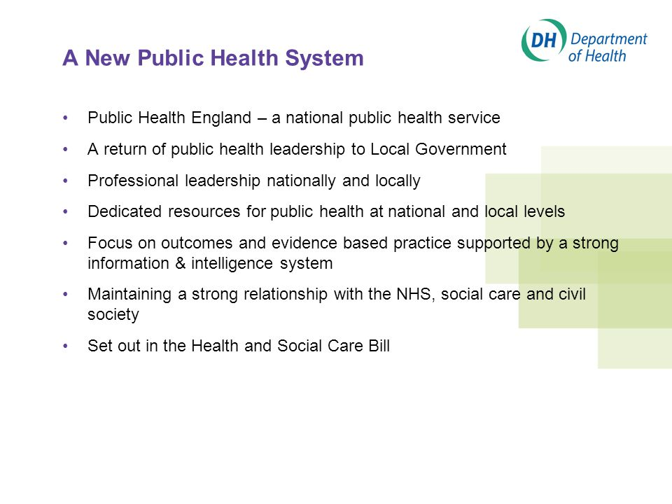 A New Public Health System Public Health England – a national public health service A return of public health leadership to Local Government Professional leadership nationally and locally Dedicated resources for public health at national and local levels Focus on outcomes and evidence based practice supported by a strong information & intelligence system Maintaining a strong relationship with the NHS, social care and civil society Set out in the Health and Social Care Bill