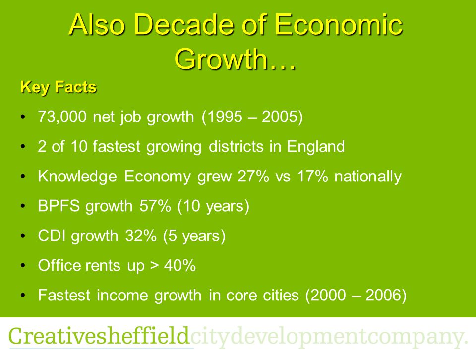 Also Decade of Economic Growth… Key Facts 73,000 net job growth (1995 – 2005) 2 of 10 fastest growing districts in England Knowledge Economy grew 27% vs 17% nationally BPFS growth 57% (10 years) CDI growth 32% (5 years) Office rents up > 40% Fastest income growth in core cities (2000 – 2006)