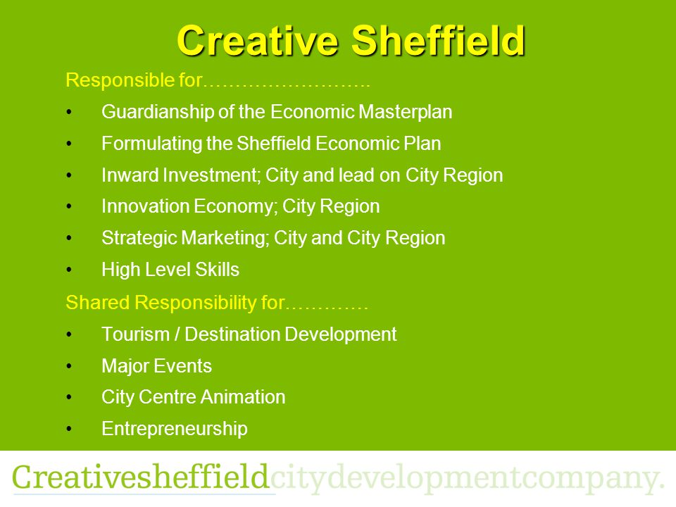 Creative Sheffield Responsible for……………………..