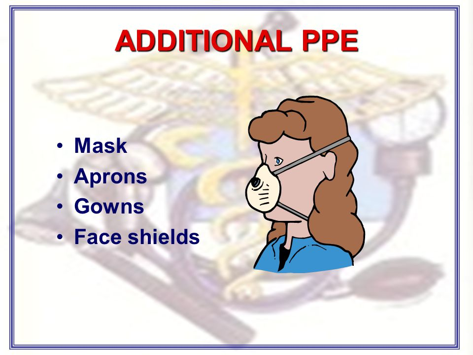 ADDITIONAL PPE Mask Aprons Gowns Face shields