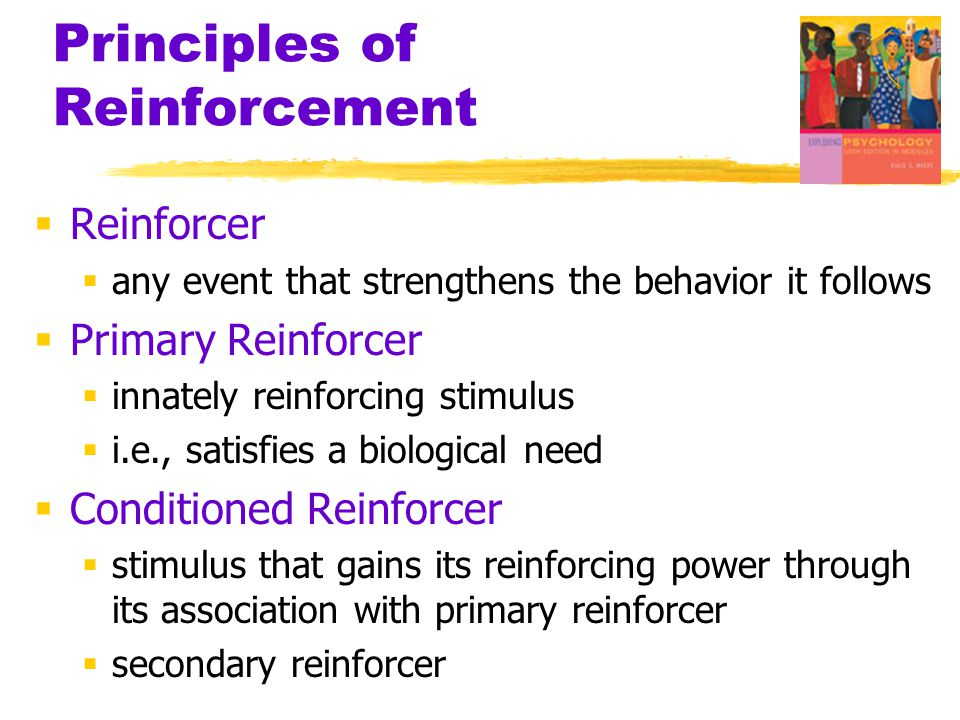 Principles of Reinforcement  Reinforcer  any event that strengthens the behavior it follows  Primary Reinforcer  innately reinforcing stimulus  i.e., satisfies a biological need  Conditioned Reinforcer  stimulus that gains its reinforcing power through its association with primary reinforcer  secondary reinforcer