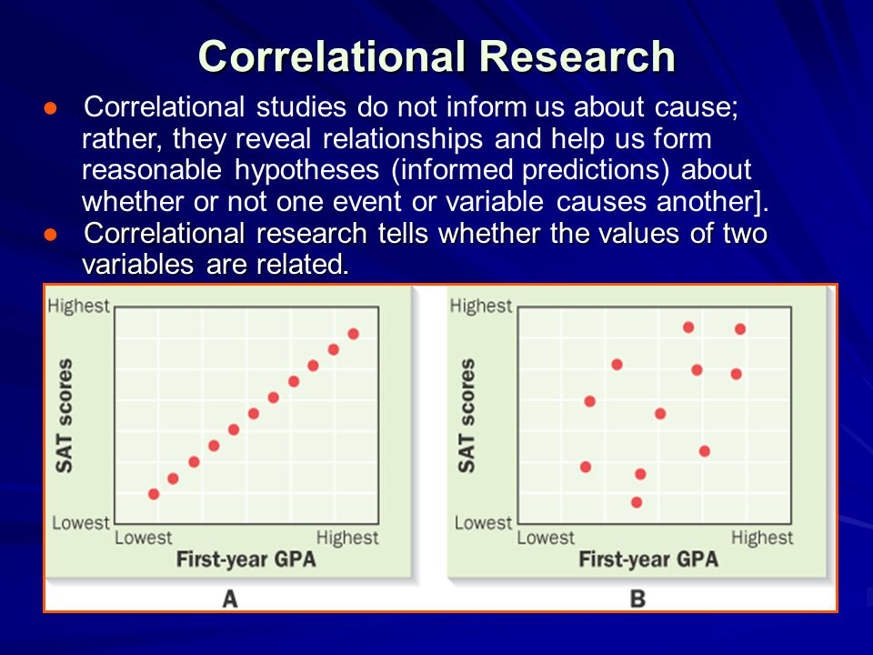 Correlational Research ● Correlational studies do not inform us about cause; rather, they reveal relationships and help us form reasonable hypotheses (informed predictions) about whether or not one event or variable causes another].