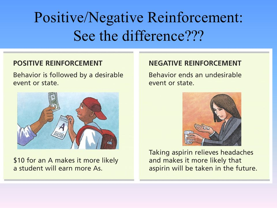 Negative Reinforcement Anything that increases the likelihood of a behavior by following it with the removal of an undesirable event or state Something the subject doesn't like is removed Will strengthen the behavior