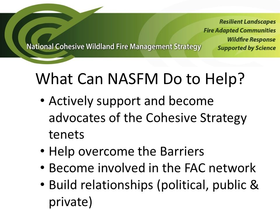 What Can NASFM Do to Help.