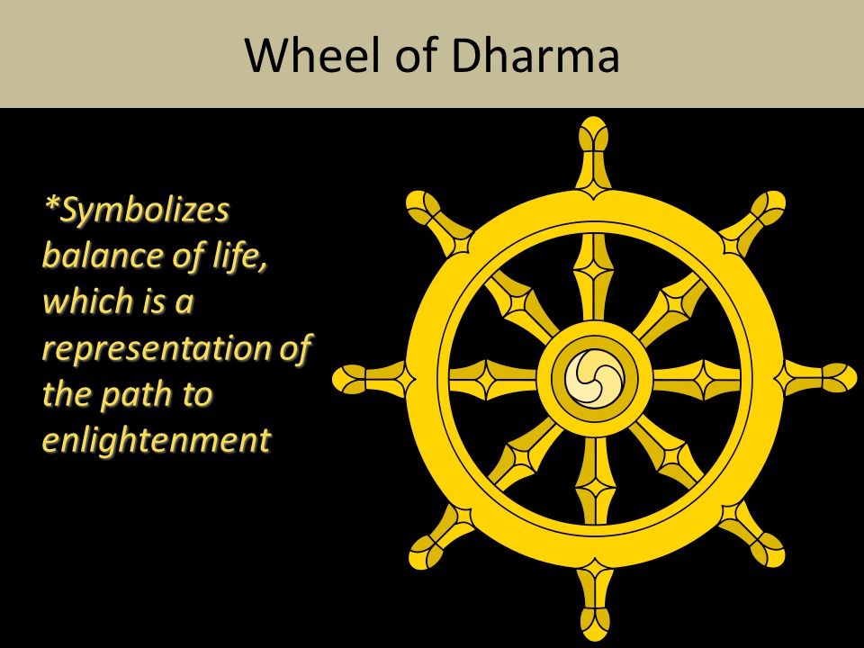 *Symbolizes balance of life, which is a representation of the path to enlightenment Wheel of Dharma