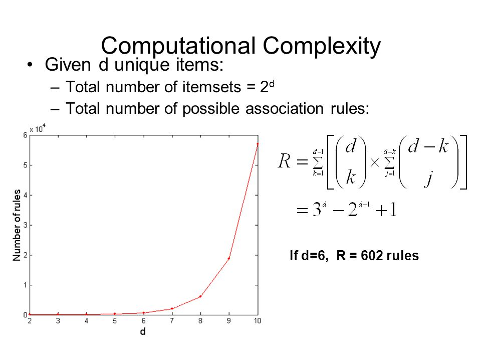 Computational Complexity Given d unique items: –Total number of itemsets = 2 d –Total number of possible association rules: If d=6, R = 602 rules