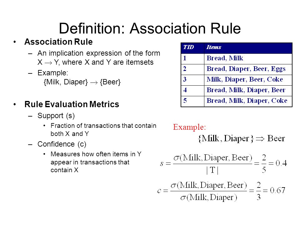 Definition: Association Rule Example: Association Rule –An implication expression of the form X  Y, where X and Y are itemsets –Example: {Milk, Diaper}  {Beer} Rule Evaluation Metrics –Support (s) Fraction of transactions that contain both X and Y –Confidence (c) Measures how often items in Y appear in transactions that contain X