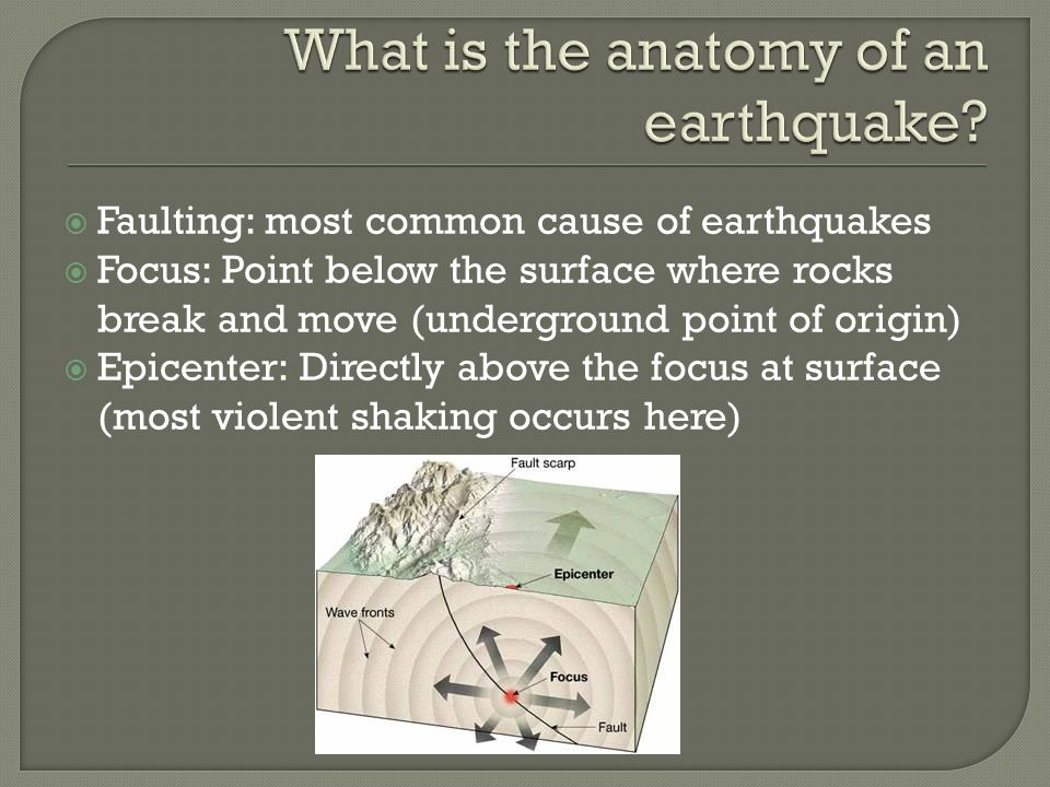  Faulting: most common cause of earthquakes  Focus: Point below the surface where rocks break and move (underground point of origin)  Epicenter: Directly above the focus at surface (most violent shaking occurs here)