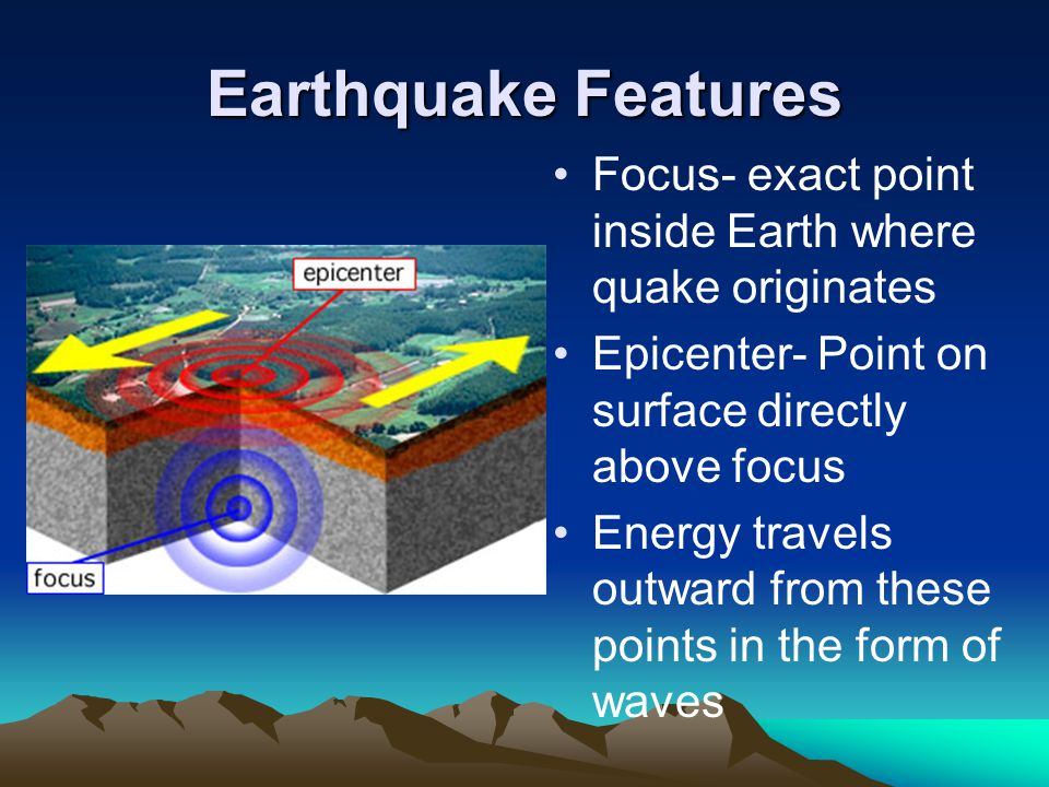 Earthquake Features Focus- exact point inside Earth where quake originates Epicenter- Point on surface directly above focus Energy travels outward from these points in the form of waves