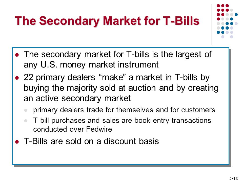 5-10 The Secondary Market for T-Bills The secondary market for T-bills is the largest of any U.S.