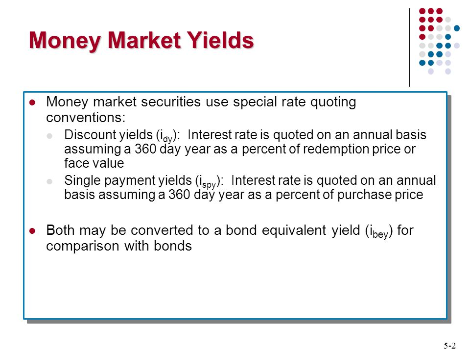 5-2 Money Market Yields Money market securities use special rate quoting conventions: Discount yields (i dy ): Interest rate is quoted on an annual basis assuming a 360 day year as a percent of redemption price or face value Single payment yields (i spy ): Interest rate is quoted on an annual basis assuming a 360 day year as a percent of purchase price Both may be converted to a bond equivalent yield (i bey ) for comparison with bonds Money market securities use special rate quoting conventions: Discount yields (i dy ): Interest rate is quoted on an annual basis assuming a 360 day year as a percent of redemption price or face value Single payment yields (i spy ): Interest rate is quoted on an annual basis assuming a 360 day year as a percent of purchase price Both may be converted to a bond equivalent yield (i bey ) for comparison with bonds