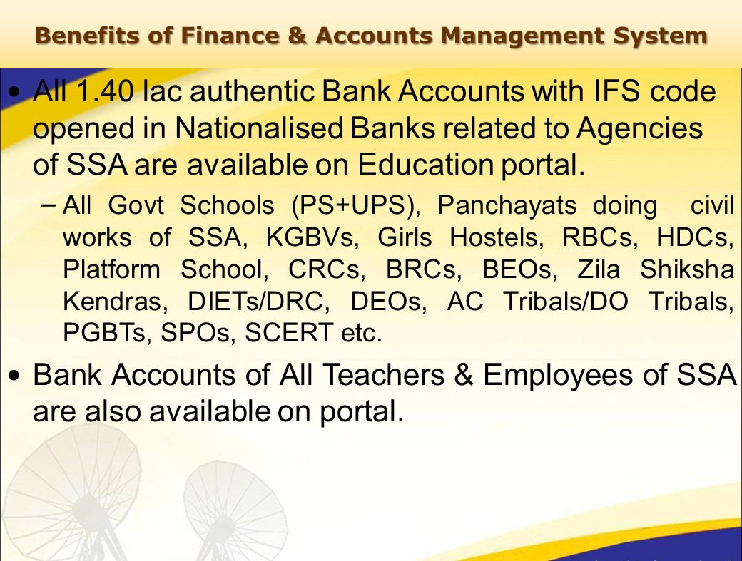 All 1.40 lac authentic Bank Accounts with IFS code opened in Nationalised Banks related to Agencies of SSA are available on Education portal.