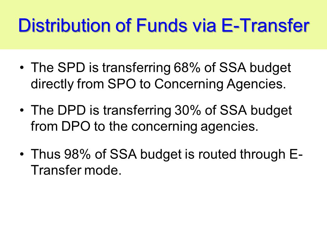 Distribution of Funds via E-Transfer The SPD is transferring 68% of SSA budget directly from SPO to Concerning Agencies.