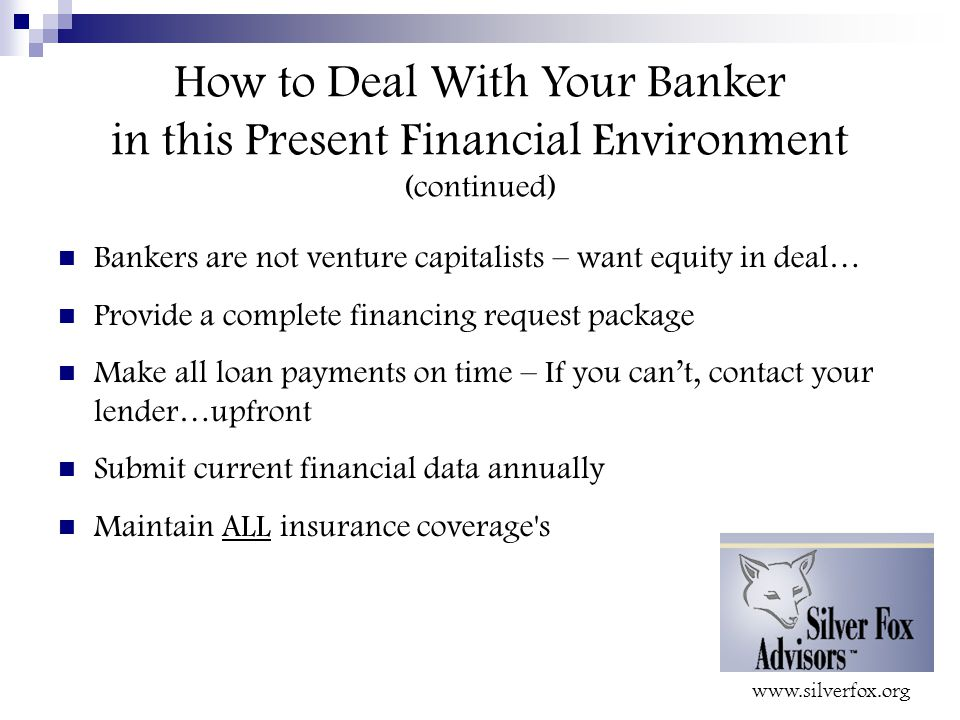 How to Deal With Your Banker in this Present Financial Environment (continued) Bankers are not venture capitalists – want equity in deal… Provide a complete financing request package Make all loan payments on time – If you can't, contact your lender…upfront Submit current financial data annually Maintain ALL insurance coverage s
