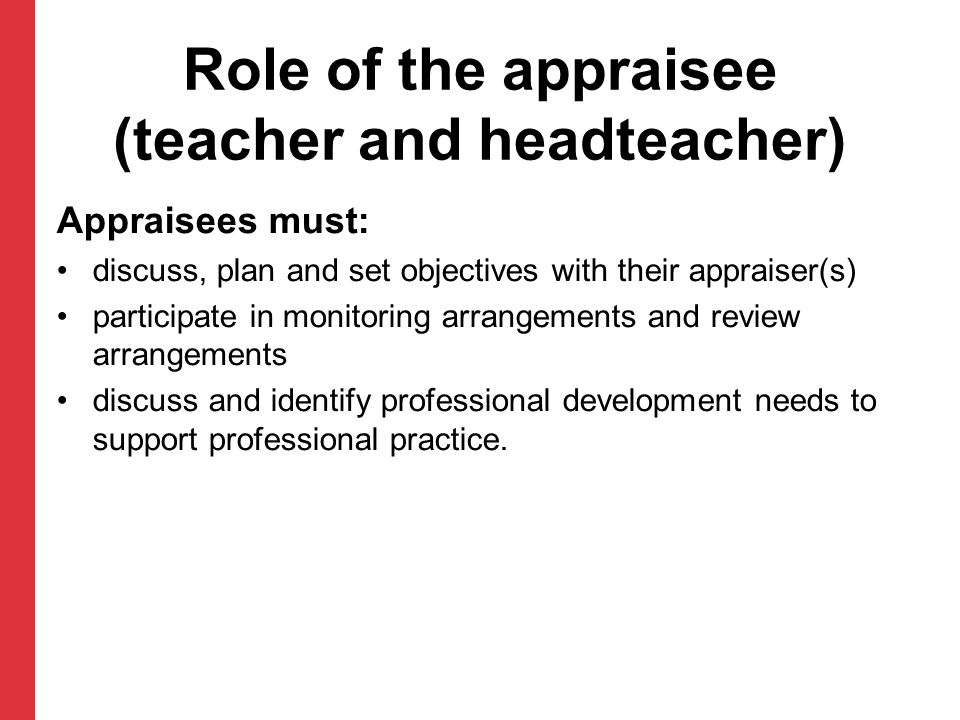 Role of the appraisee (teacher and headteacher) Appraisees must: discuss, plan and set objectives with their appraiser(s) participate in monitoring ar