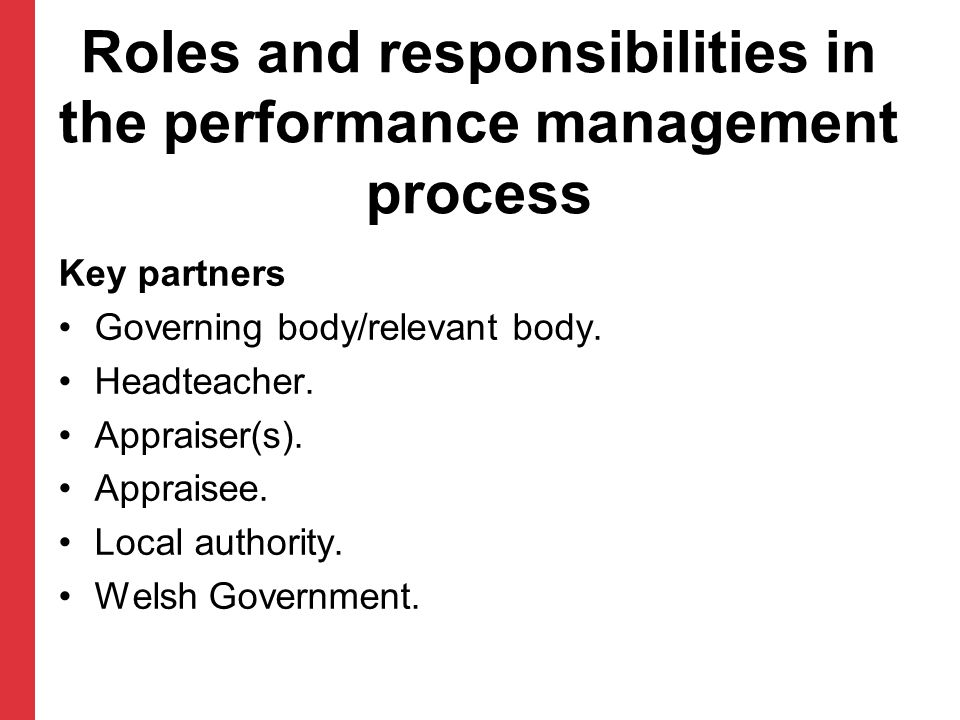 Roles and responsibilities in the performance management process Key partners Governing body/relevant body. Headteacher. Appraiser(s). Appraisee. Loca