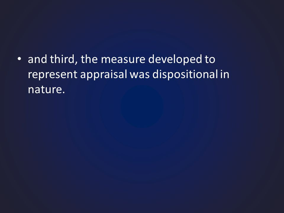and third, the measure developed to represent appraisal was dispositional in nature.