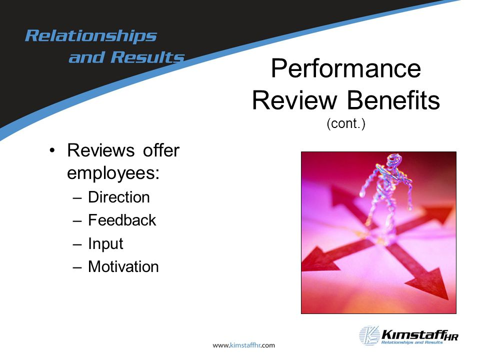 Performance Review Benefits (cont.) Reviews offer employees: –Direction –Feedback –Input –Motivation