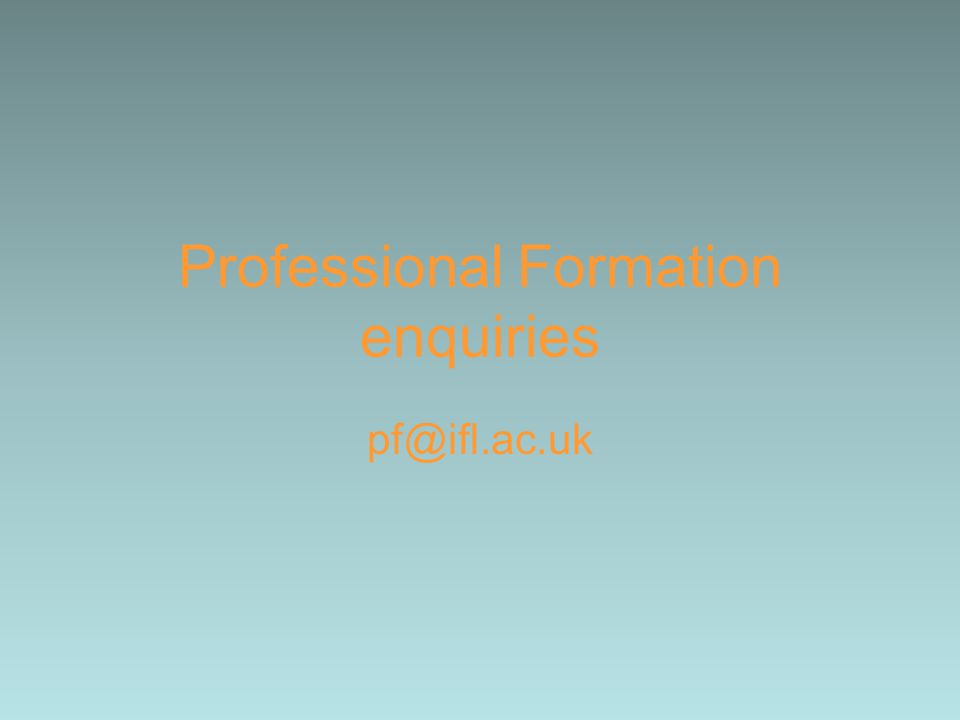 Professional Formation enquiries