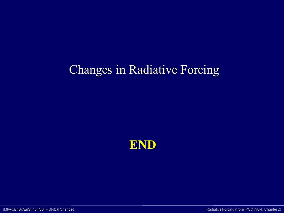 (Mt/Ag/EnSc/EnSt 404/504 - Global Change) Radiative Forcing (from IPCC WG-I, Chapter 2) END Changes in Radiative Forcing