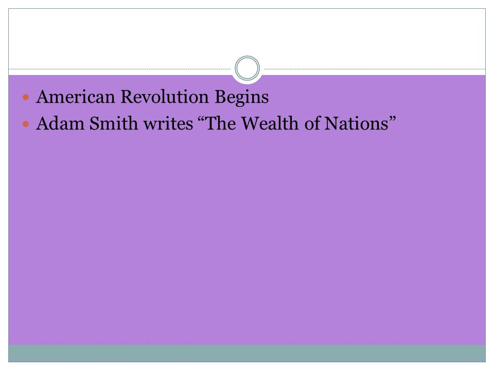 American Revolution Begins Adam Smith writes The Wealth of Nations