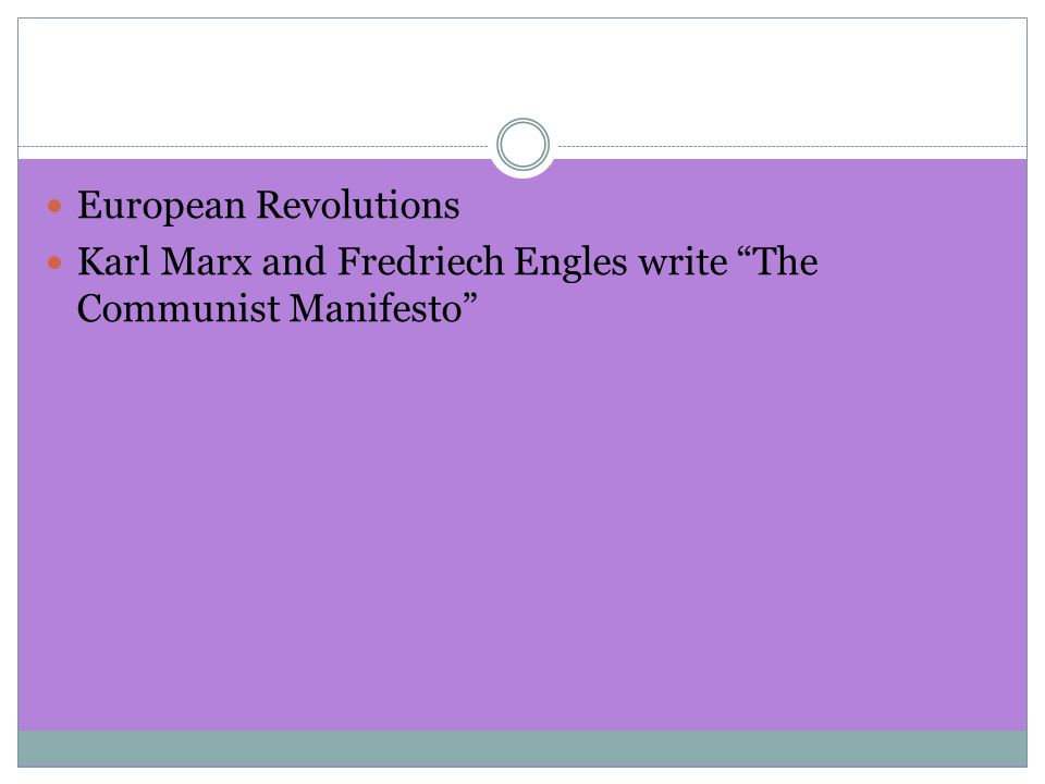 European Revolutions Karl Marx and Fredriech Engles write The Communist Manifesto