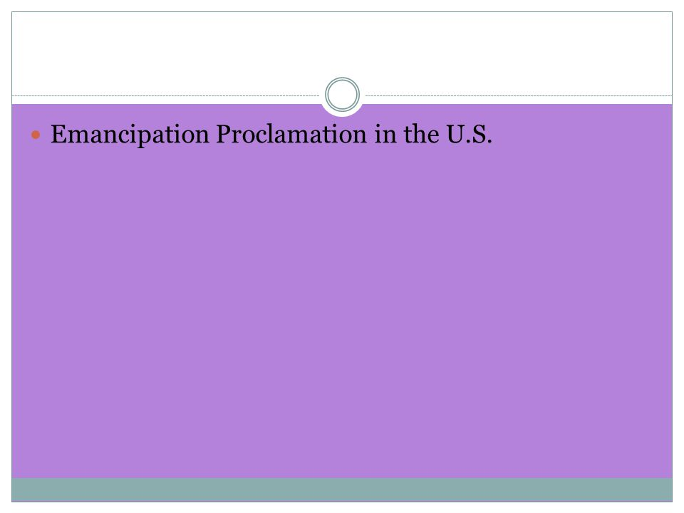 Emancipation Proclamation in the U.S.