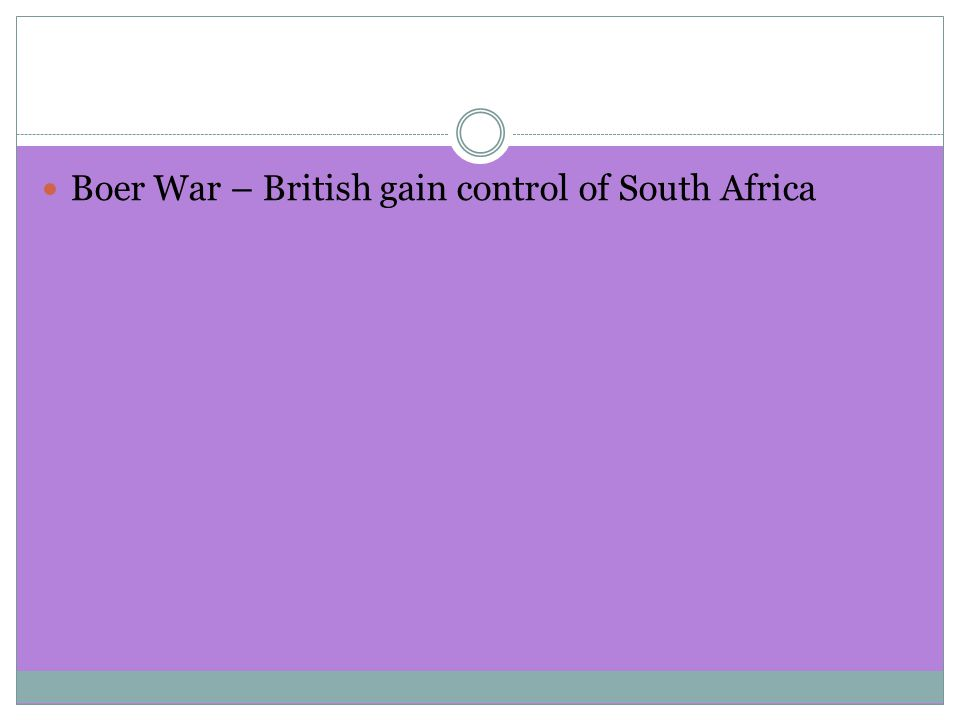 Boer War – British gain control of South Africa