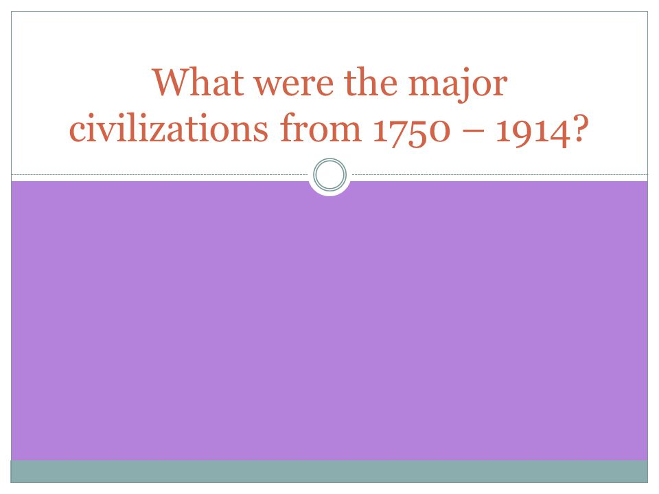 What were the major civilizations from 1750 – 1914