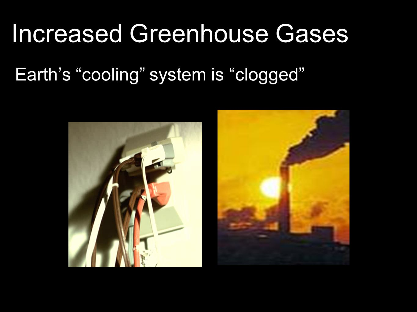 Increased Greenhouse Gases Earth's cooling system is clogged