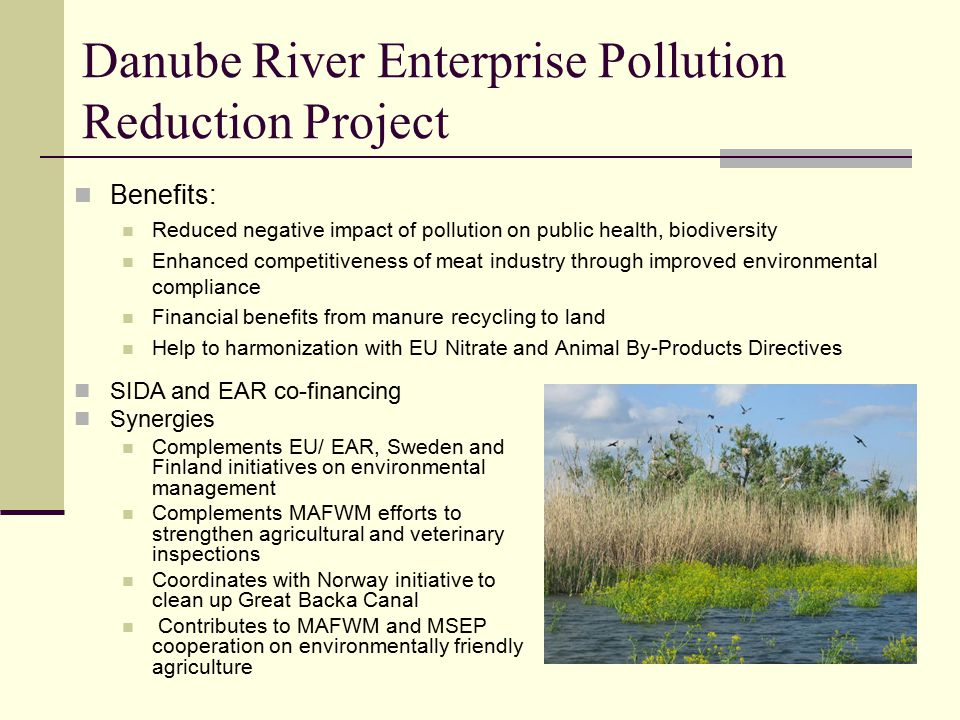 Danube River Enterprise Pollution Reduction Project Benefits: Reduced negative impact of pollution on public health, biodiversity Enhanced competitiveness of meat industry through improved environmental compliance Financial benefits from manure recycling to land Help to harmonization with EU Nitrate and Animal By-Products Directives SIDA and EAR co-financing Synergies Complements EU/ EAR, Sweden and Finland initiatives on environmental management Complements MAFWM efforts to strengthen agricultural and veterinary inspections Coordinates with Norway initiative to clean up Great Backa Canal Contributes to MAFWM and MSEP cooperation on environmentally friendly agriculture