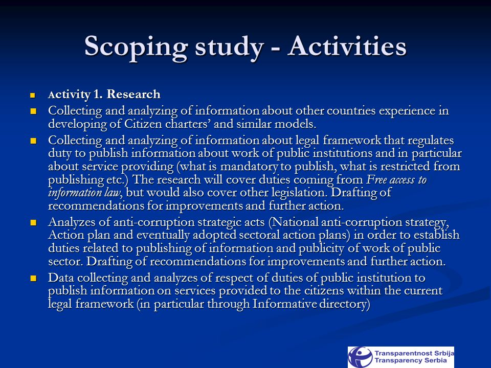 Scoping study - Activities A ctivity 1. Research A ctivity 1.
